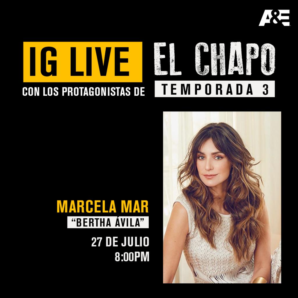 la actriz marcela mar hablara de lo nuevo de el chapo por ig live livemarcela